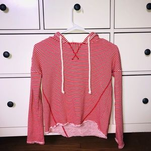 Red and white striped hooded shirt